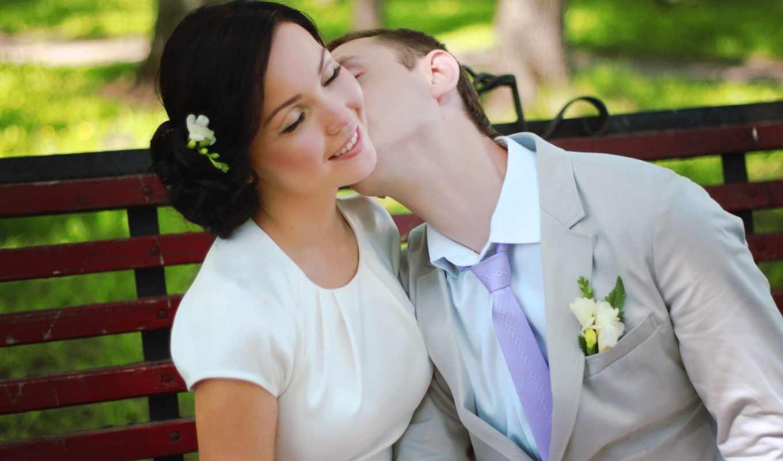 любовь, свадьба, пара, девушка, поцелуй, природа,