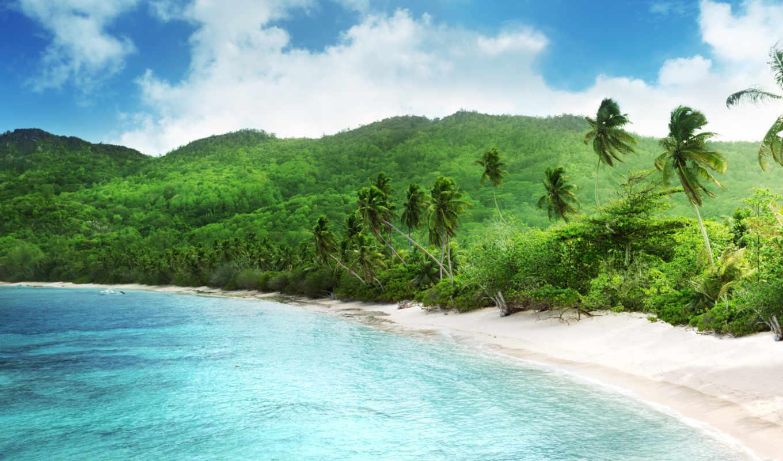 природа, облака, landscape, пляж, небо,