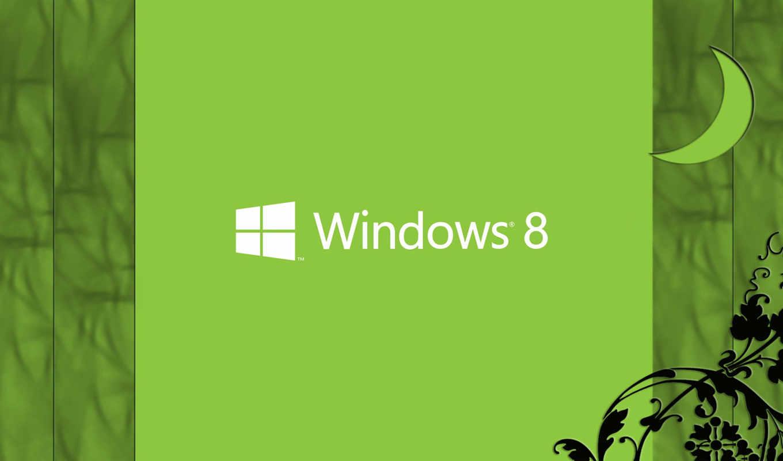 windows, eight, лого, зелёный, луна