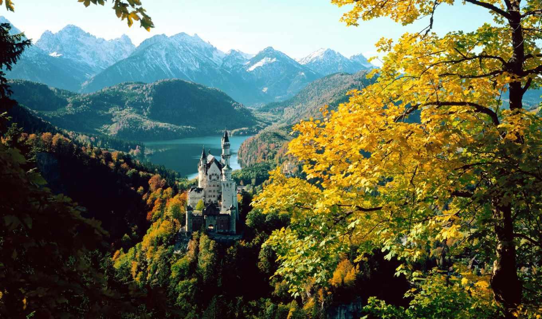 города, осень, landscape, страны, castle, замки, нойшванштайн, бавария,