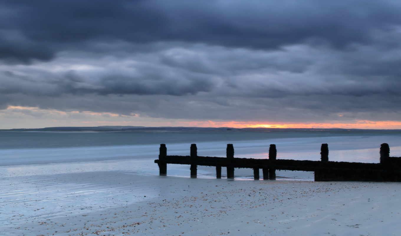 пляж, закат, море, природа, англия, вечер, красивые,
