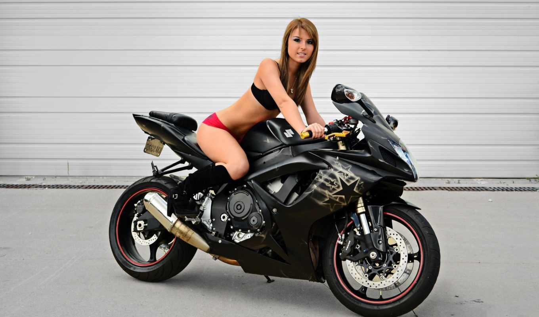 мотоцикл, девушка, suzuki, gsx, дорога, devushki, автомобили,