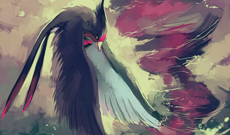 anime, птица, pokemon, крылья, уранаг, торнадо,