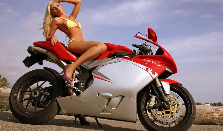 девушка, купальник, мотоцикл