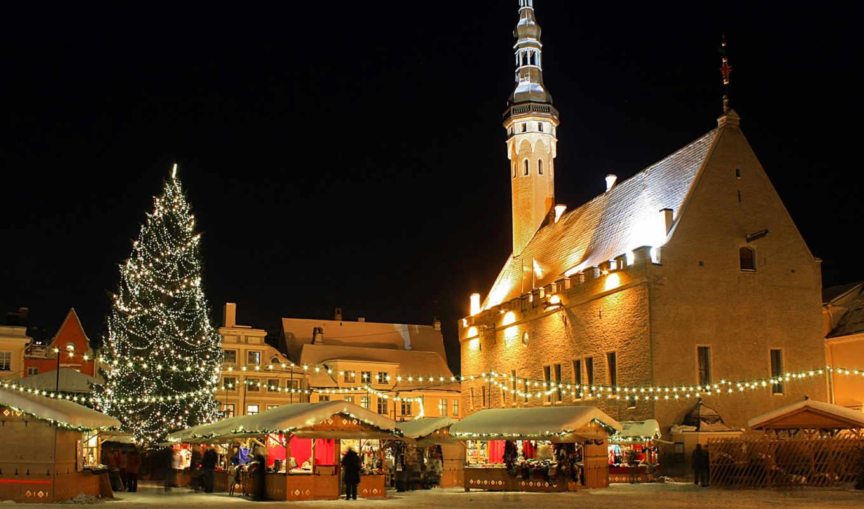 год, новый, рождество, огни, эстония, таллин, ратуша, лавки, базарчик, елка, дома, от, компьютера, тур, эстонии, туры,