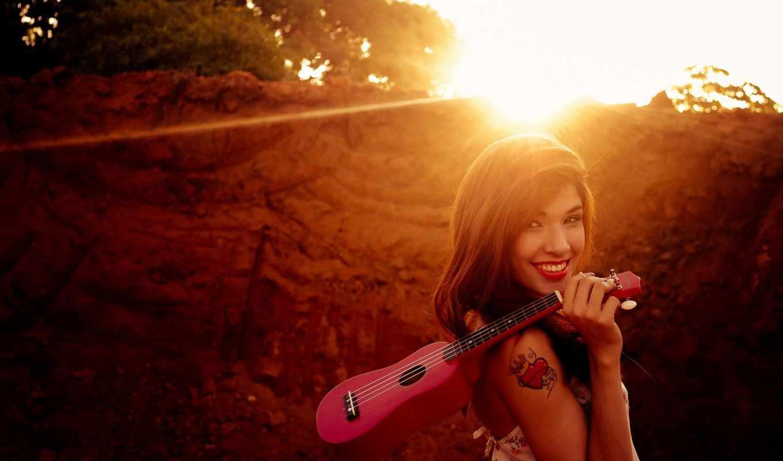 гитара, укулеле, солнце, деревя,