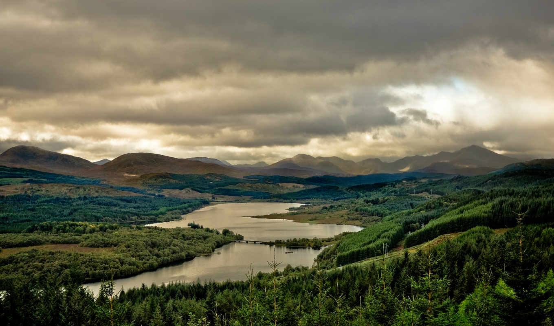 горы, шотландия, озеро, великобритания, landscape, лес, great, гарри, деревья, loch,