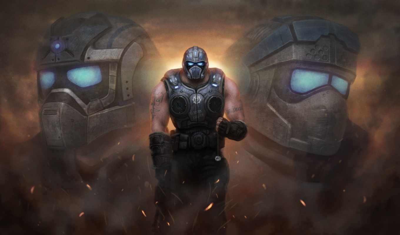 war, gears, brothers, шлем, gallery, конец, картинка, art,