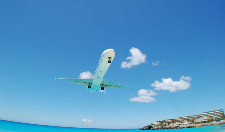 авиация, пейзажи, гостиницы, море, гостиница, самолеты, пляжи, вода, дома, океан, картинка,
