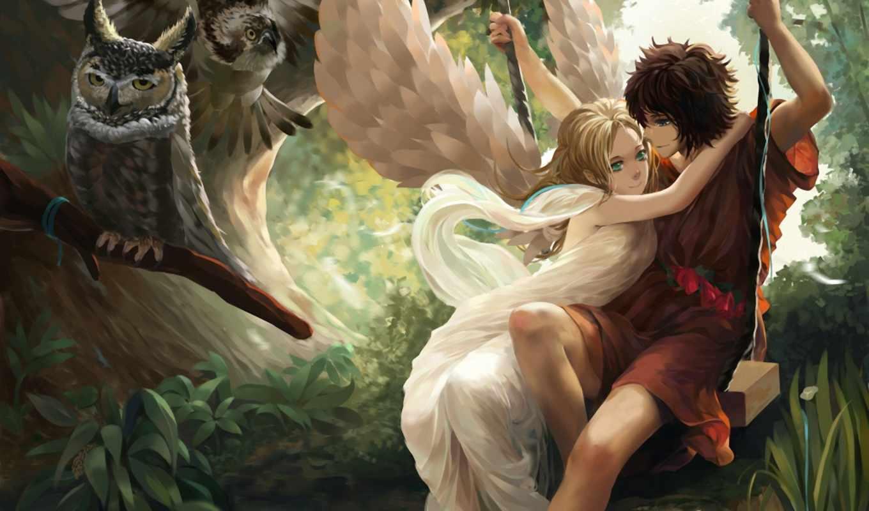 девушка, ангел, крылья, парень, лес, качеля,