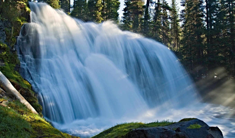природа, водопад, лес, камень, лучи, водопады,