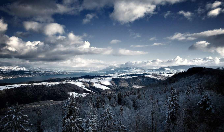 winter, снег, landscape, горы, небо, деревья, природа, лес, горизонт,