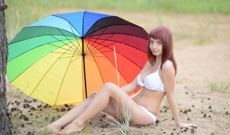 devushka, les, зонт, devushki,