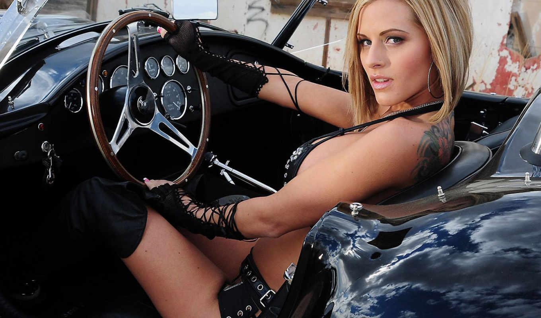 девушка, за, рулём, руля, тюнинг, пост, свое, колесо, руль, авто,