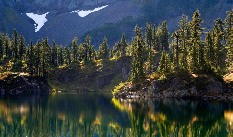 деревья, лес, остров, склон, гора, пейзажи, baker, washington, природа, wilderness, изображений, hayes, mount, lake,
