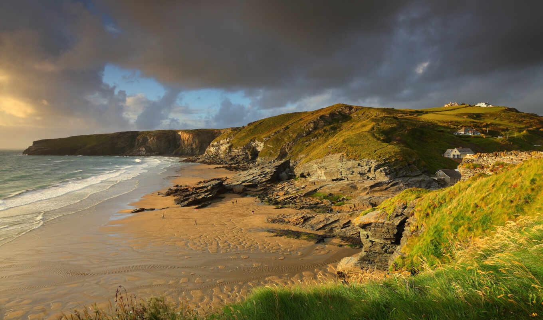 берег, скалы, лето, англия, пляж, люди, океан, британия,
