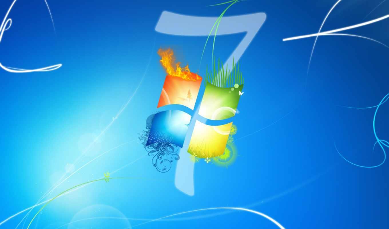 windows, se7en, logo, blue