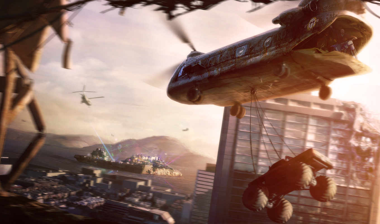 motorstorm, apocalypse, вертолет, монстр, size, poster,