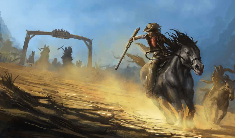 лошади, живопись, ковбои, шляпы, pursuit, оружие, бандиты, разное, ковбой, рисованные, мужчины,