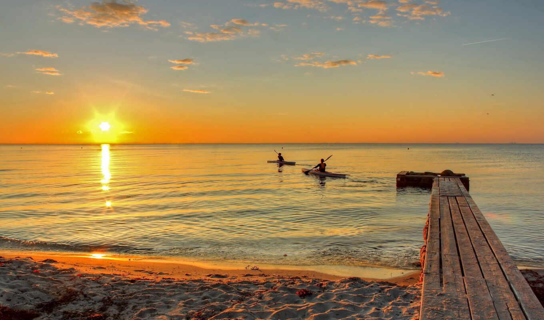море, закат, лодки, небо, sun, облака, берег,