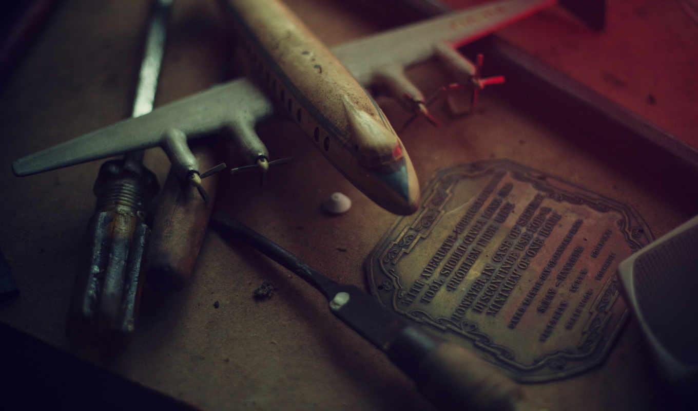 мастерская, инструменты, модель, самолёт, дерево, разное, широкоформатные, картинка,