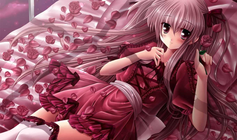 anime, розы, лепестки, illustration, toy, девушка, роз, мед, роза, яndex, коллекциях,