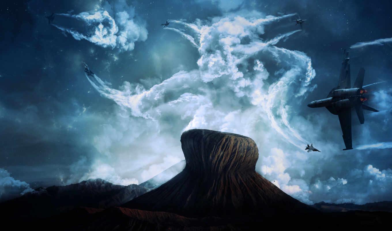 wallpaper, небо, виражи, звезды, wallpapers, самолеты, облака, planes, aircraft, hd, combat, fantasy, sky, air, fighter, flying,