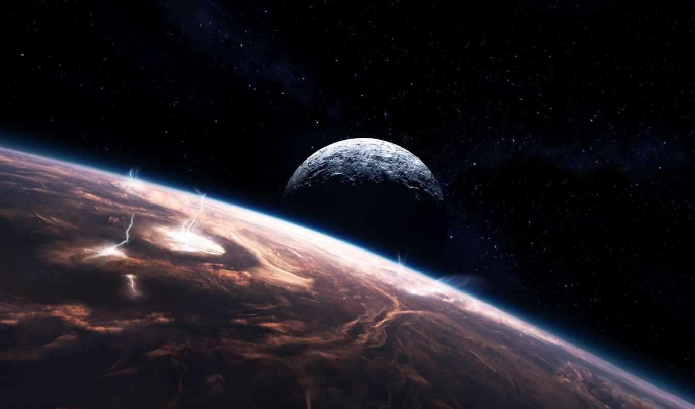 звезды, молнии, облака, планеты, space, lightning, картинка, desktop,