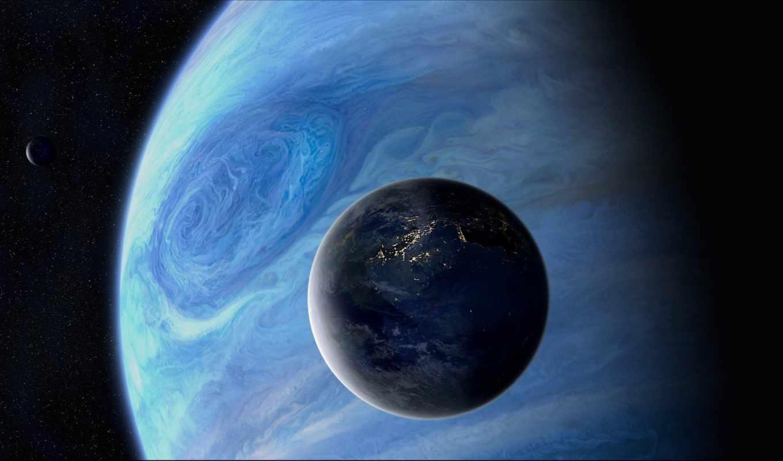 планеты, космос, спутник, огни, звезды, арт,