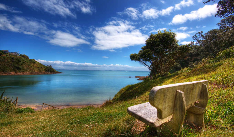 природа, море, favourite, романтика, лучшее, скамейка, побережье, взгляд, природы, пейзажи -,