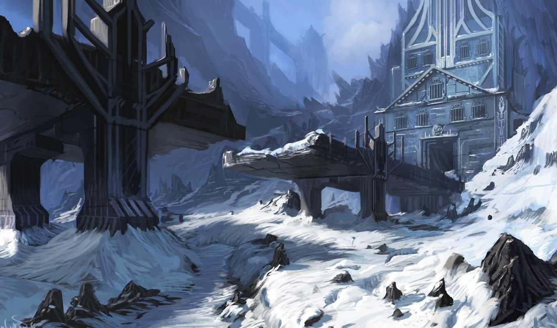 мост, называется, руины, где, замок, человек, под, камни, ущелье,
