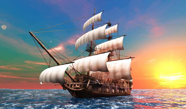 парусник, корабль, паруса, мачты, море,
