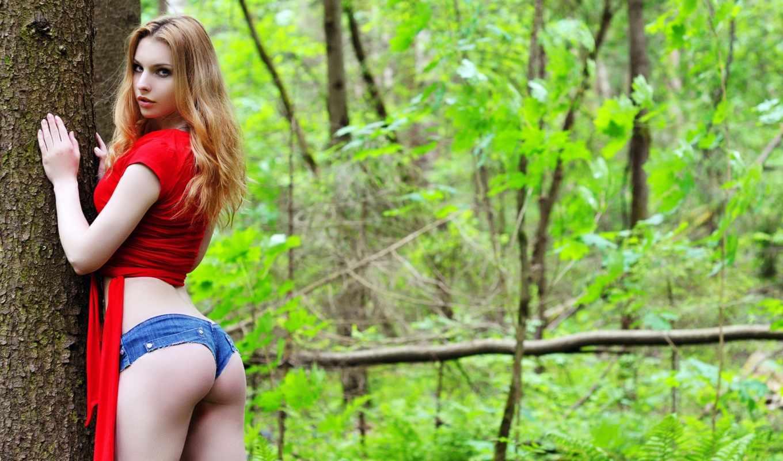 ursula, forester, девушка, лес, ass, волосы,