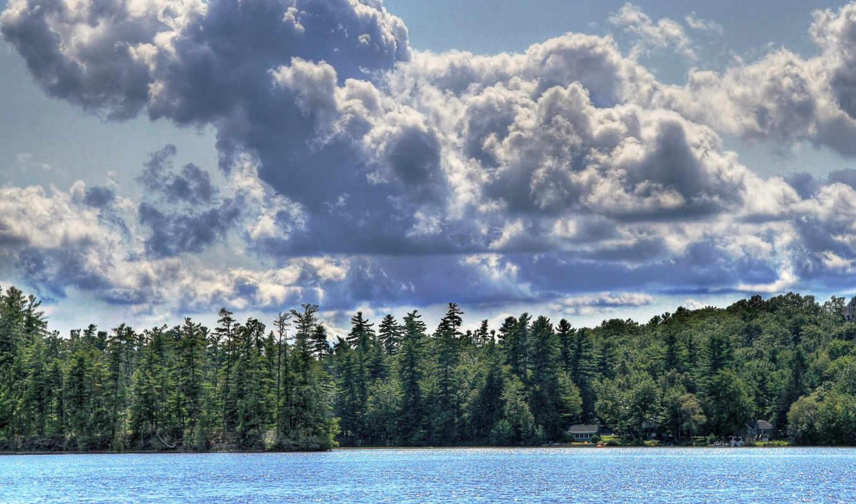 ,oblaka, небо, сосны,  озеро, лес, домики
