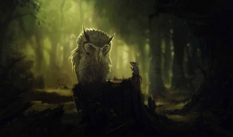 лес, fantasy, trees, stump, conversation, сова, darkness, mouse, devushki,