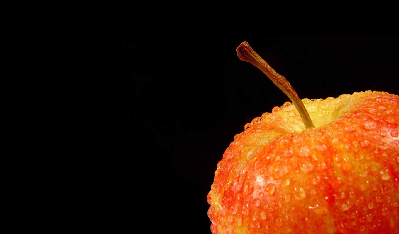фрукт, яблоко, капельки, red, картинка, картинку, abstract, кнопкой, яблока, fresh, хвостик, мыши,