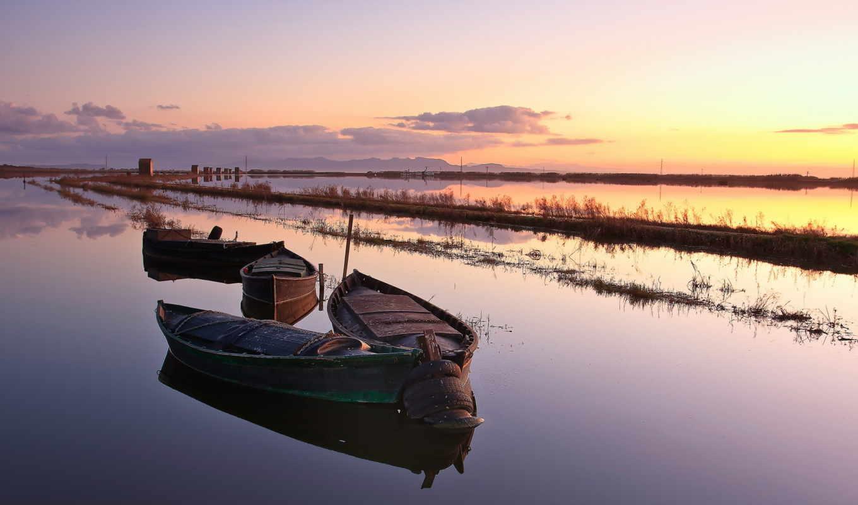 изображение, закат, река, лодка, значок,