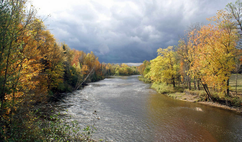 , осень, река, грозовые, тучи,