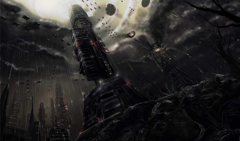 david, будущего, fuhrer, город, фантастический, здания, тучи, ливень, space,