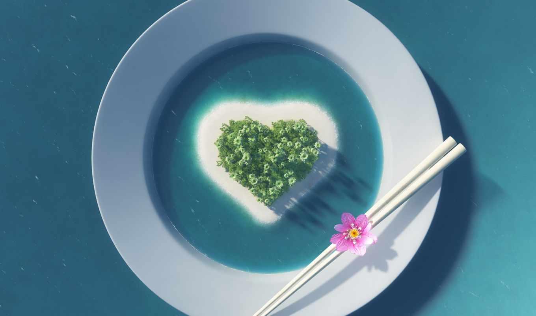 heart, еда, island, love, plate, художество, artwork,