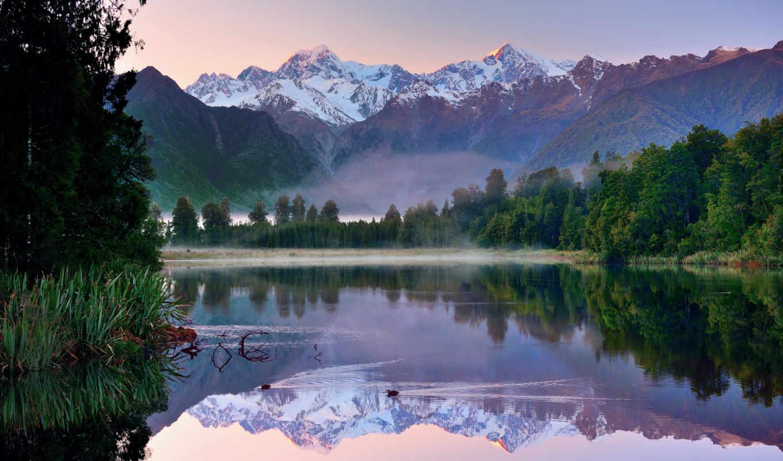 zealand, новая, озеро, горы, пейзажи -, небо,