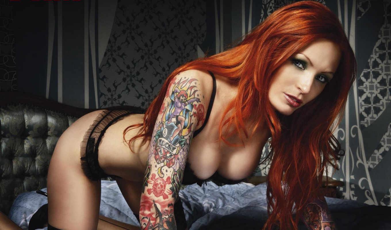 девушка, рыжая, татуировка, anne, lindfield, картинку, картинка, модель, мыши, тату, поза, грудь, белье, кнопкой, women,