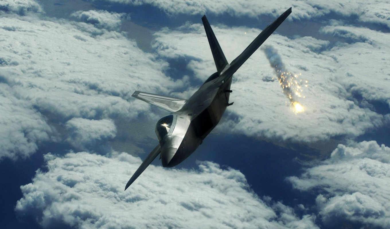 aircraft, flares, raptor, military, jet, высота, desktop, ракеты, clouds, земля, небо, landscapes, nature, avia, air, airplanes,