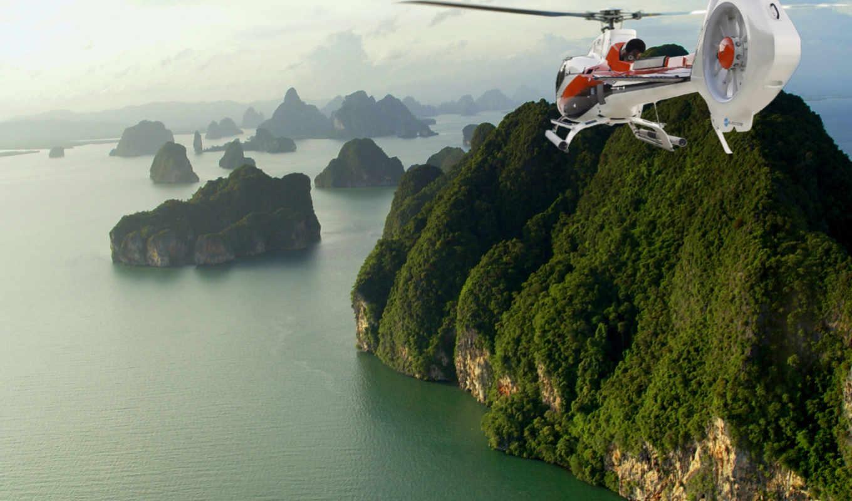 helicopter, thailand, море, скалы, phuket,