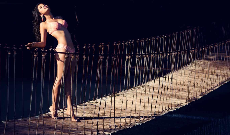 мост, свет, девушка, картинка,