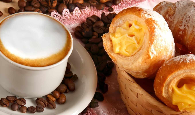 кофе, капучино, чашка, блюдце, корзина, пена, зерна, широкоформатные,