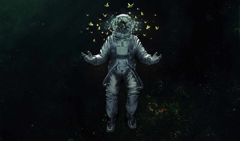 космонавт, бабочки, бабочка, красивые, art, feb, космос,