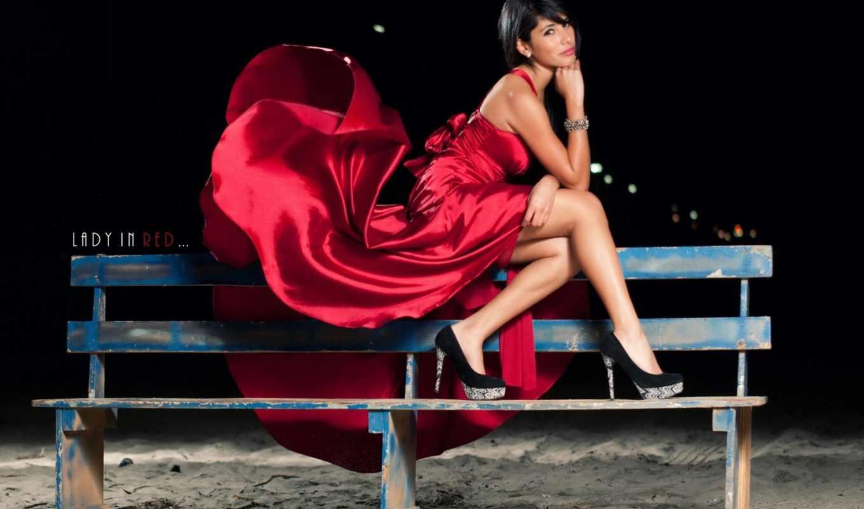 скамейка, devushka, devushki, красном, lady, red,