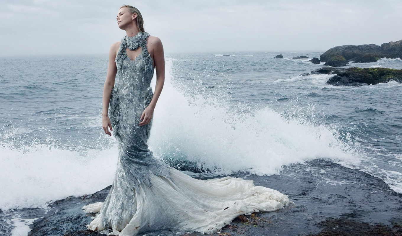 платье, charlize, theron, актриса, девушка, море,