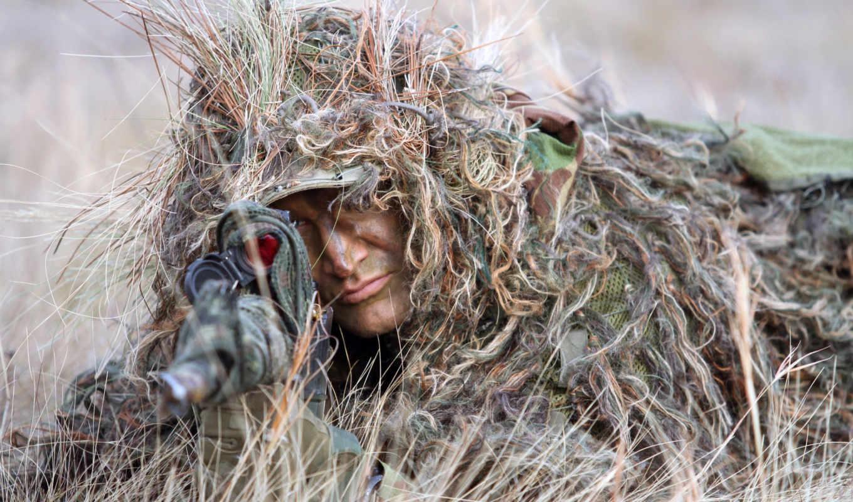 снайпер, винтовка, снайперская, маскировка, трава, засада, прицельный, лицо, картинка,